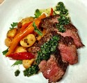 Grilled Bistro Steak with Chimichurri & Corona Bean and Summer Pepper Ragout